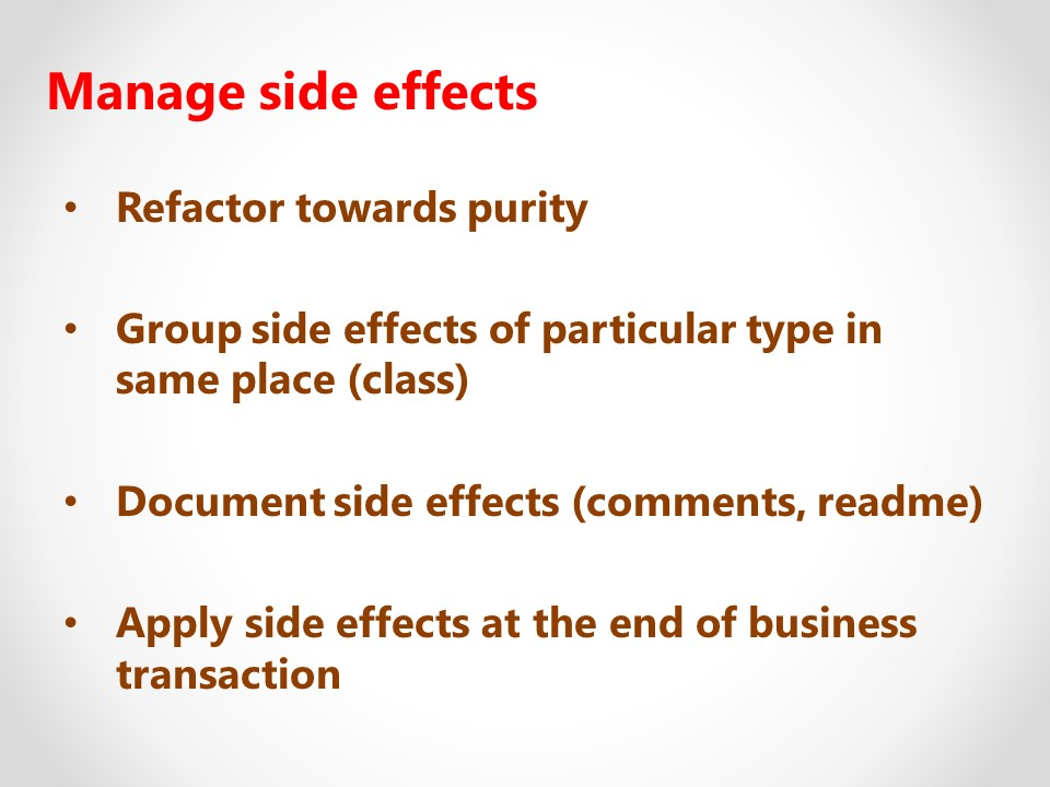 Manage side effects