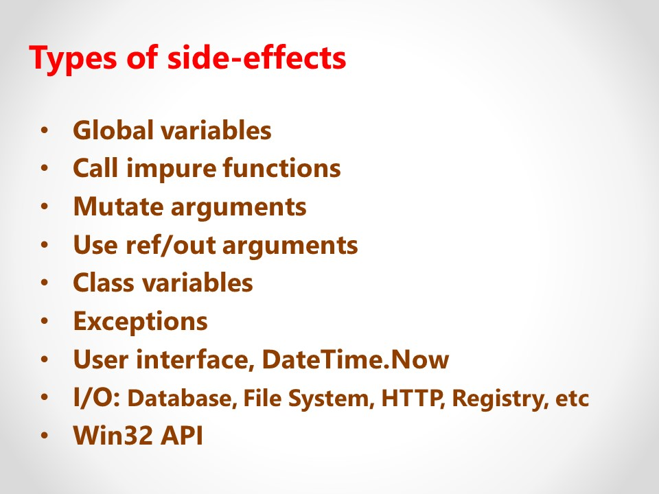 Types of side-effects