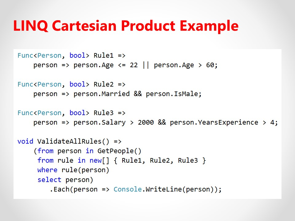LINQ Cartesian Product Example