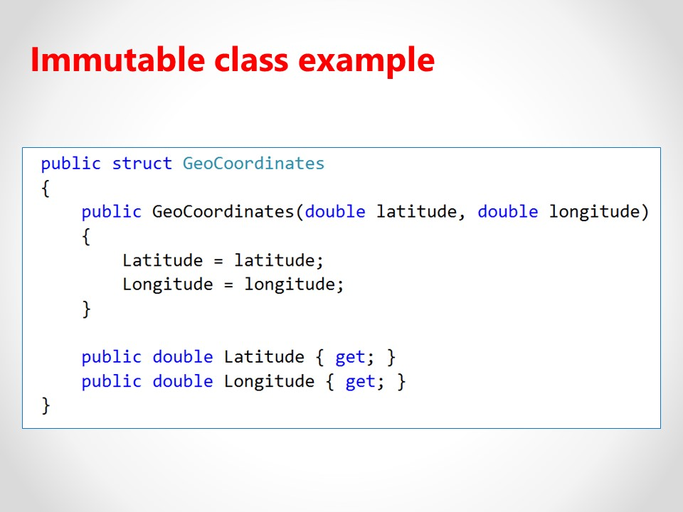 Immutable class example